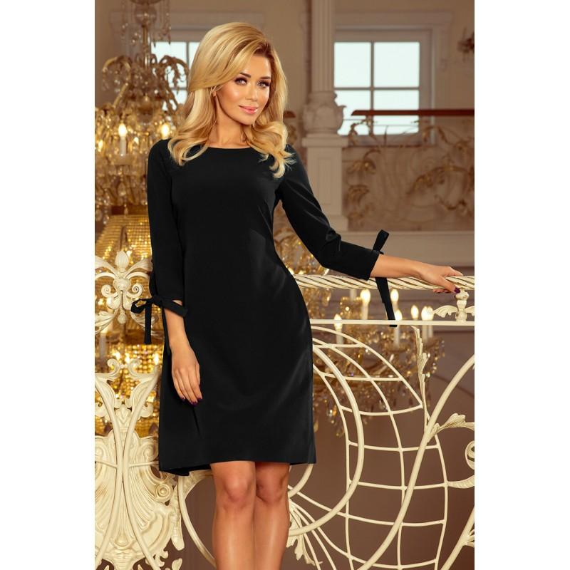 Rochie eleganta neagra cu funde decorative