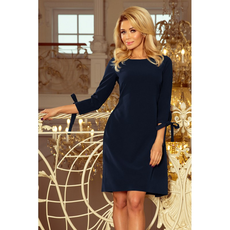 Rochie eleganta bleumarin maneci trei sferturi
