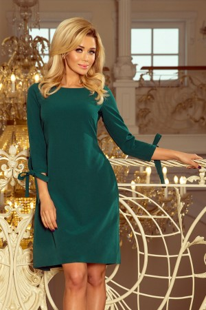 Rochie eleganta verde cu funda la spate