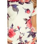 Rochie cu lungime medie si imprimeu floral colorat