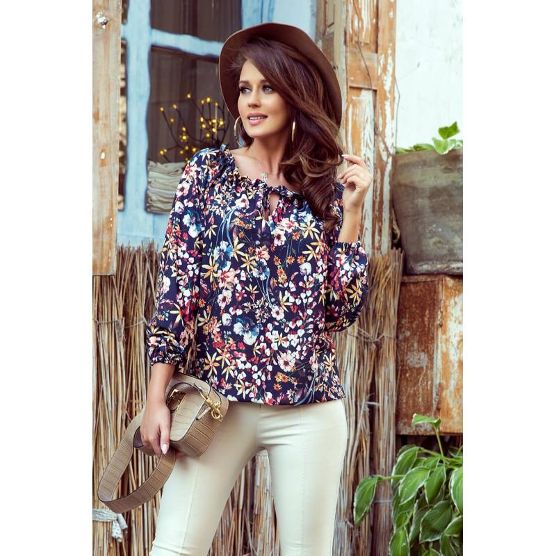 Bluza dama cu imprimeu floral si maneci lungi