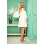 Rochie eleganta alba mini cu cordon in talie