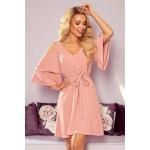 Rochie eleganta roz mini cu decupaje si cordon