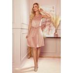 Rochie din catifea roz fara maneci cu cordon