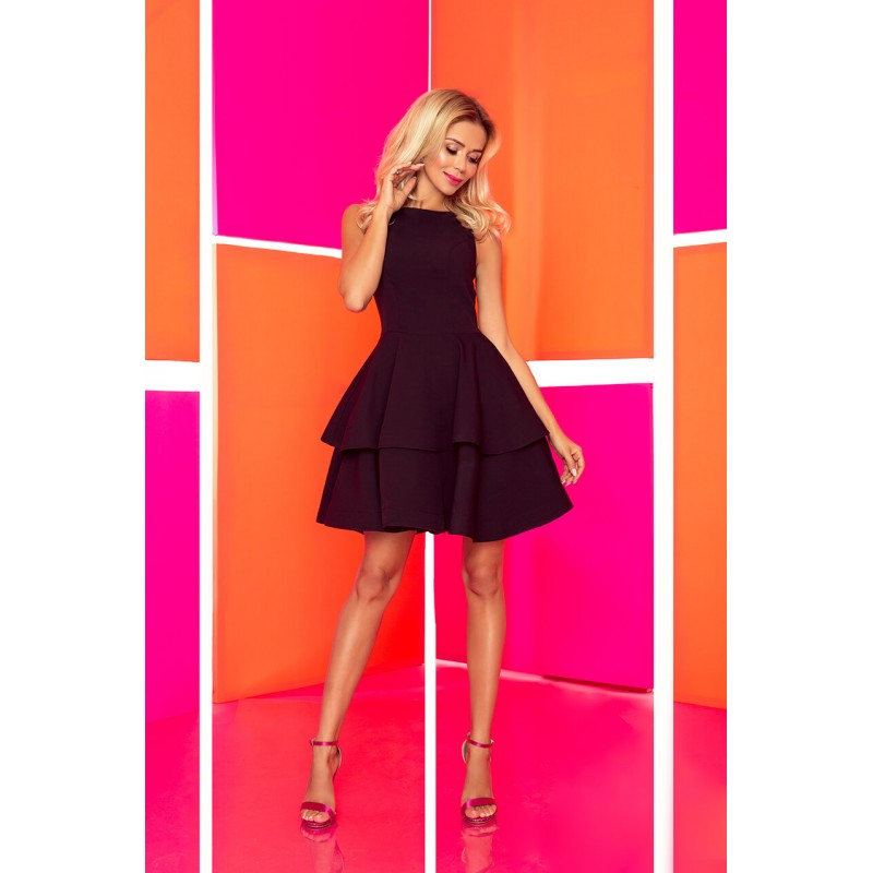 Rochie eleganta cu volane si lungime mini neagra