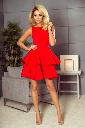 Rochie eleganta cu volane si lungime mini rosie