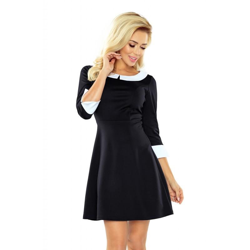 Rochie eleganta neagra cu maneci trei sferturi si guler alb
