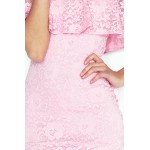 Rochie roz din dantela cu volan decorativ
