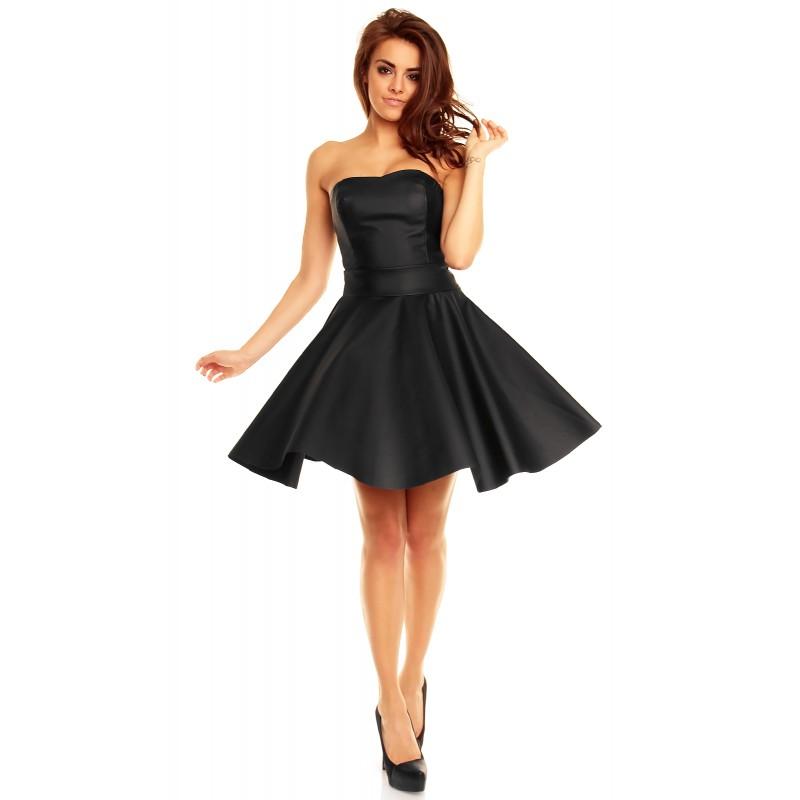 Rochie neagra, din piele ecologica ,cu corset