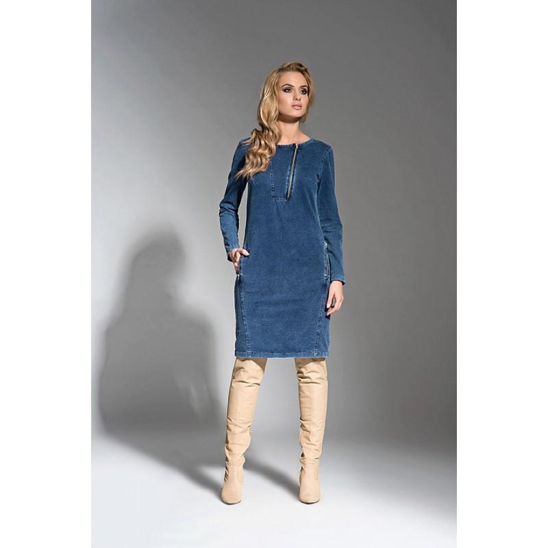 Rochie La aurora din jeans dreapta lungime midi
