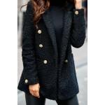Palton de dama cambrat negru cu butoni decorativi