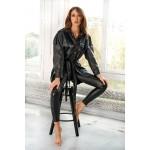 Camasa dama supradimensionata din piele ecologica neagra