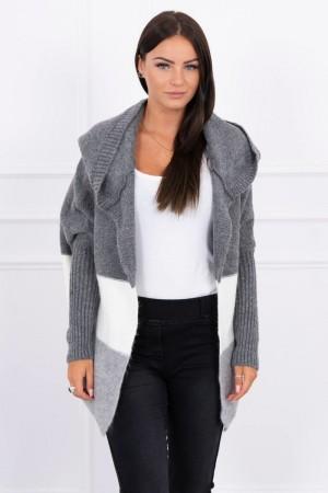 Cardigan scurt cu gluga tricotat 2019-15-3