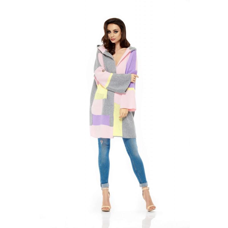 Cardigan dama colorat supradimensionat cu gluga LS204-2