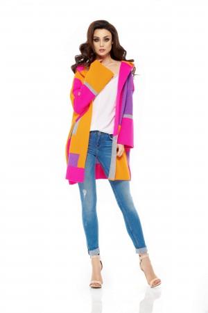 Cardigan dama colorat supradimensionat cu gluga LS204-3