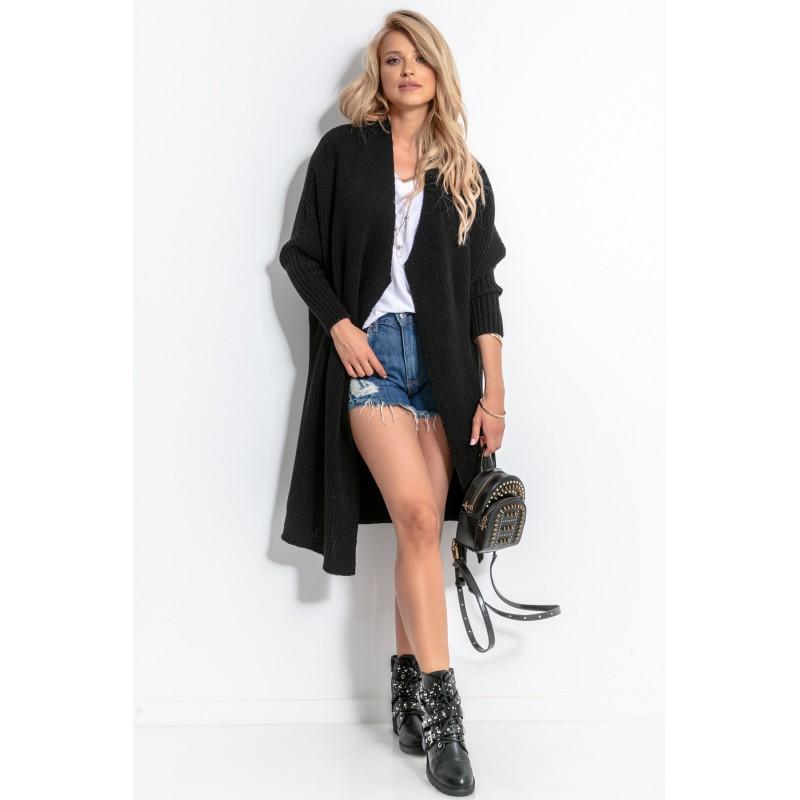Cardigan dama cu lungime medie si maneci lungi negru