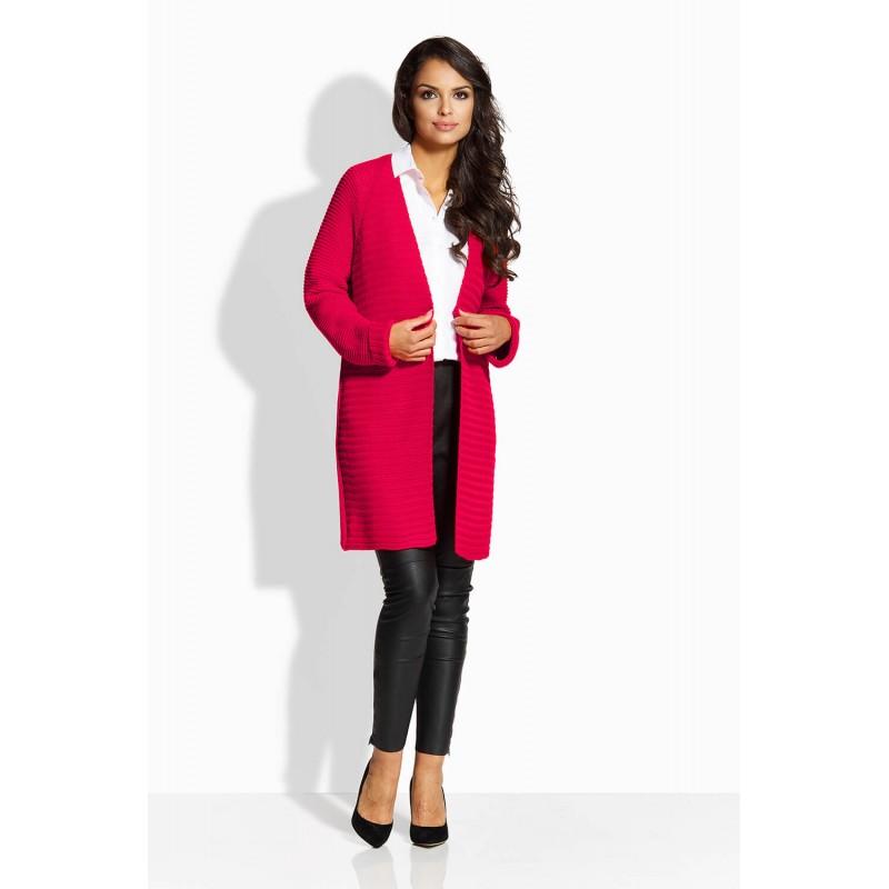 Cardigan elegant de dama cu maneci lungi rosu