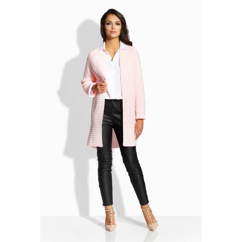 Cardigan elegant de dama cu maneci lungi roz