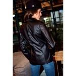 Jacheta dama din piele cu nasturi neagra