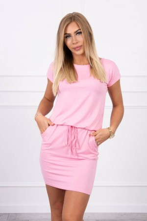 Rochie casual sport roz scurta cu buzunare