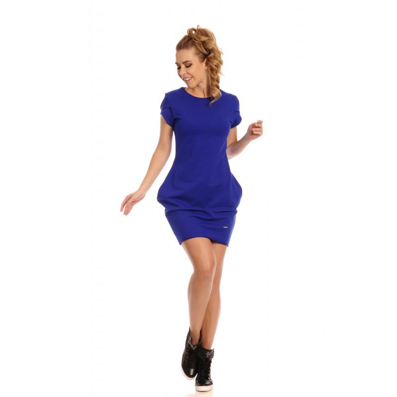 Rochie albastra casual scurta cu buzunare