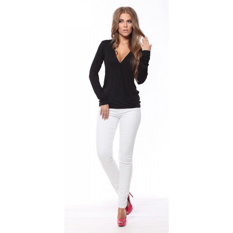 Bluza neagra de dama cu maneca lunga