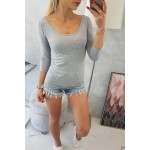 Bluza gri casual cu maneca lunga