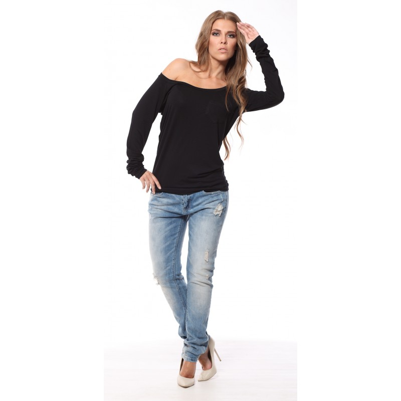 Bluza neagra casual cu maneca lunga