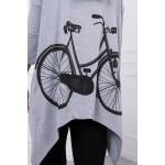 Bluza dama print bicicleta gri cu gluga