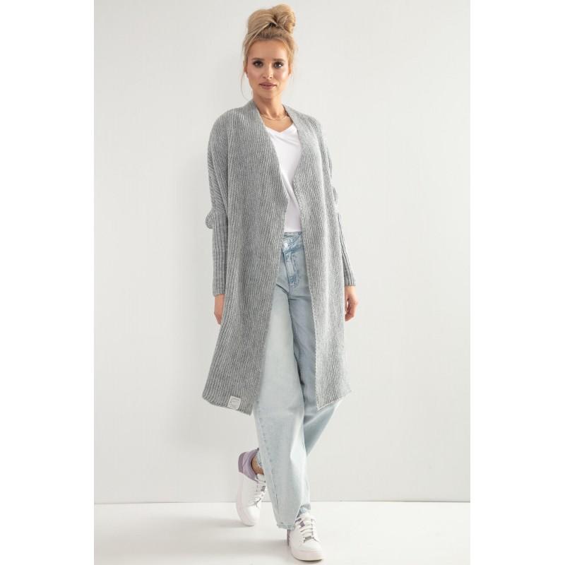 Cardigan gri dama lung tricotat