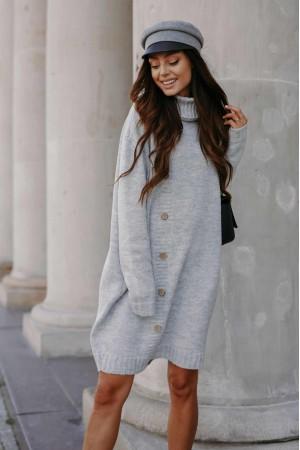 Rochie gri tricotata pe gat cu maneci lungi