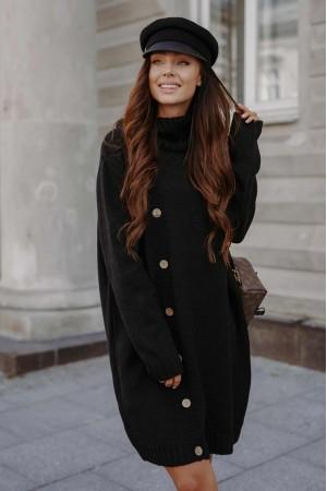Rochie Prettymoda neagra tricotata pe gat cu maneci lungi
