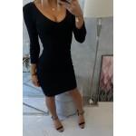 Rochie de zi neagra cu maneca trei sferturi