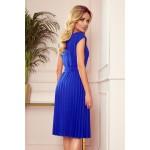 Rochie albastra casual-eleganta trei sferturi dreapta