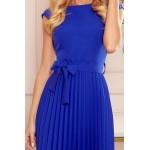 Rochie albastra eleganta plisata lungime medie