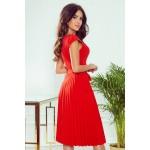 Rochie rosie eleganta plisata lungime medie