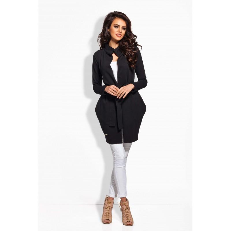 Cardigan dama lung casual-elegant trei sferturi negru