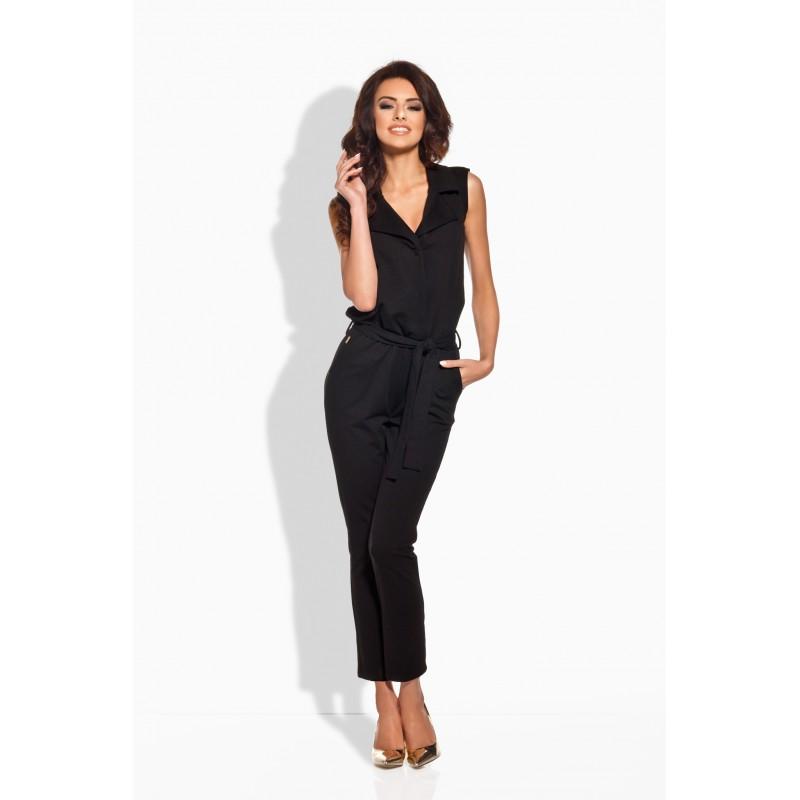 Salopeta neagra de dama cu pantaloni trei sferturi eleganta