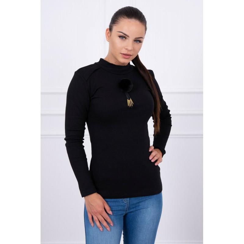 Bluza de dama neagra cu accesoriu pufos