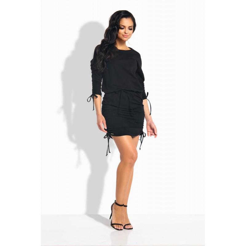 Rochie casual mini cu snururi elastice neagra