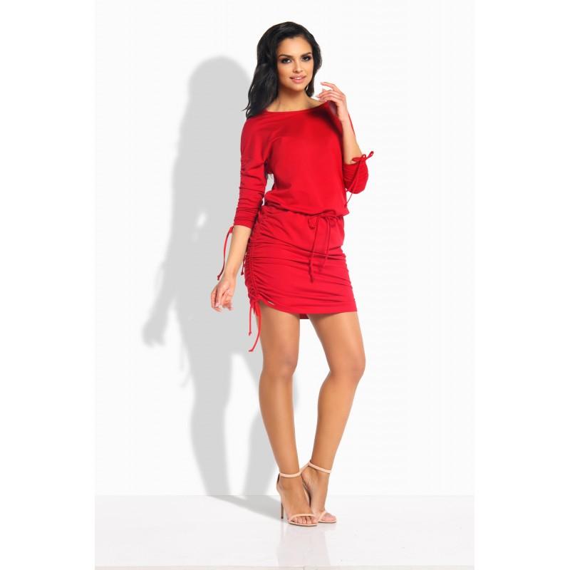 Rochie casual mini cu snururi elastice rosie