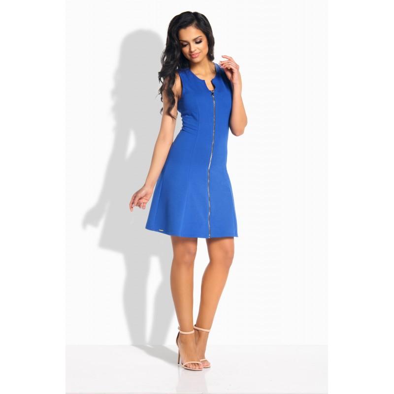 Rochie de zi albastra mini fara maneci cu fermoar L183-2