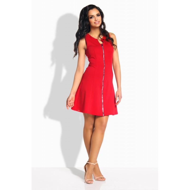 Rochie de zi rosie mini fara maneci cu fermoar L183-1