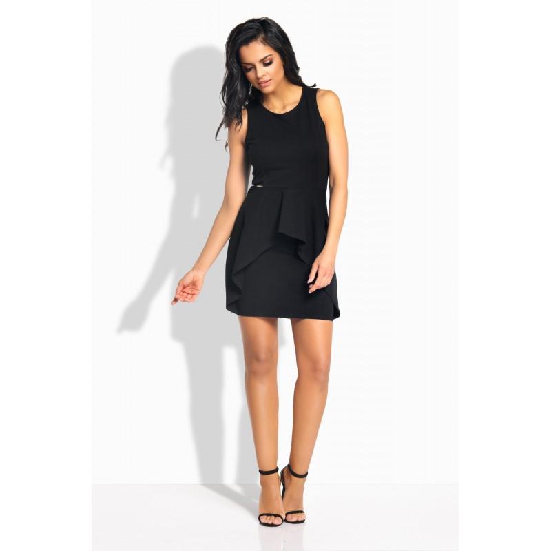 Rochie eleganta dreapta mini cu aspect dublat in partea din fata neagra