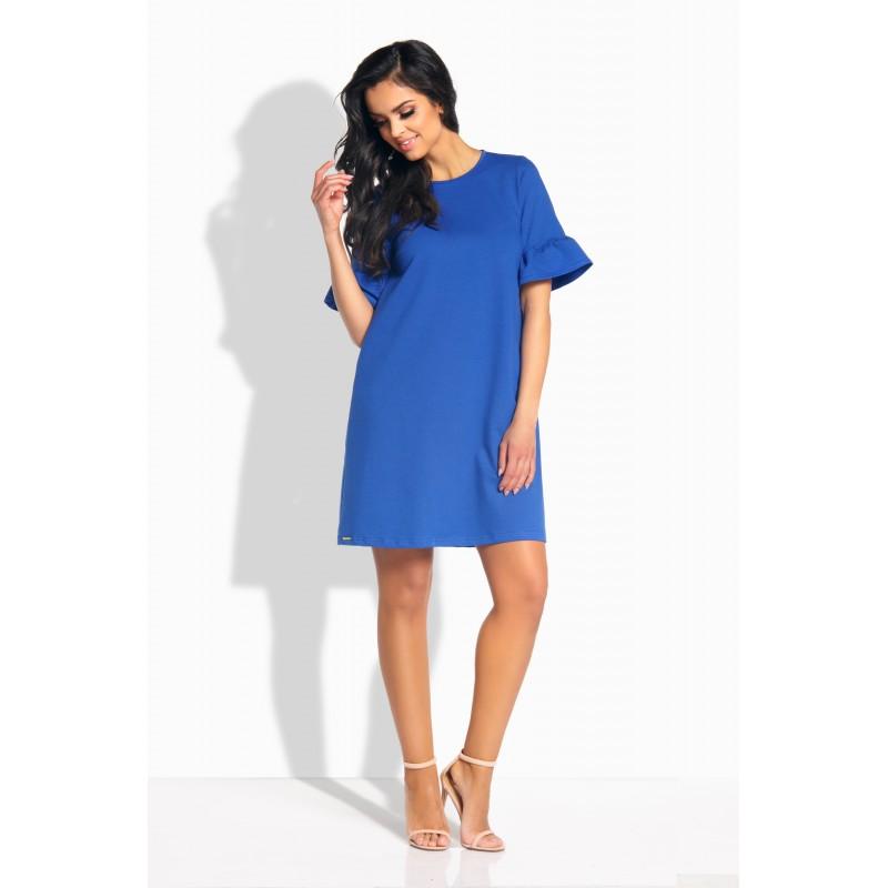 Rochie eleganta lejera cu maneci scurte evazate albastra