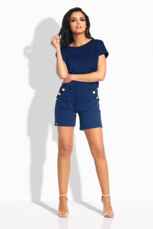 Salopeta de dama cu pantaloni scurti si buzunare laterale bleumarin