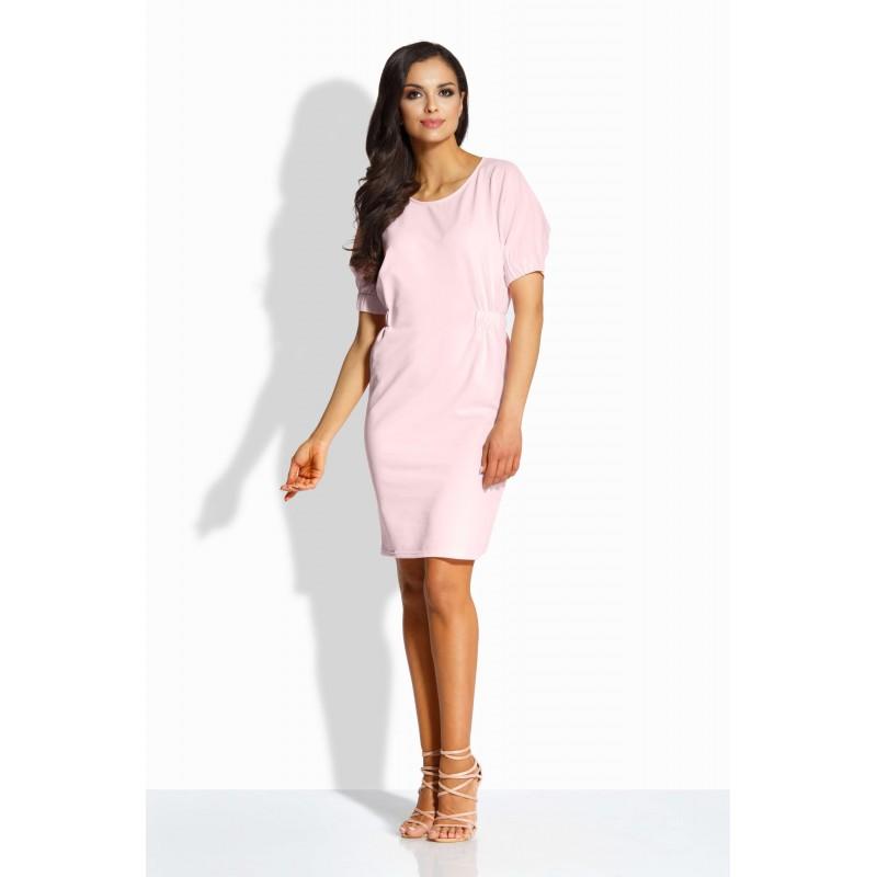 Rochie dreapta cu benzi elastice si maneci scurte roz