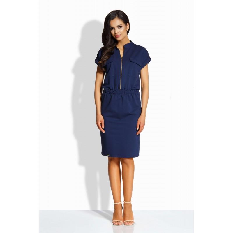 Rochie eleganta cu fermoar decorativ si buzunare frontale bleumarin