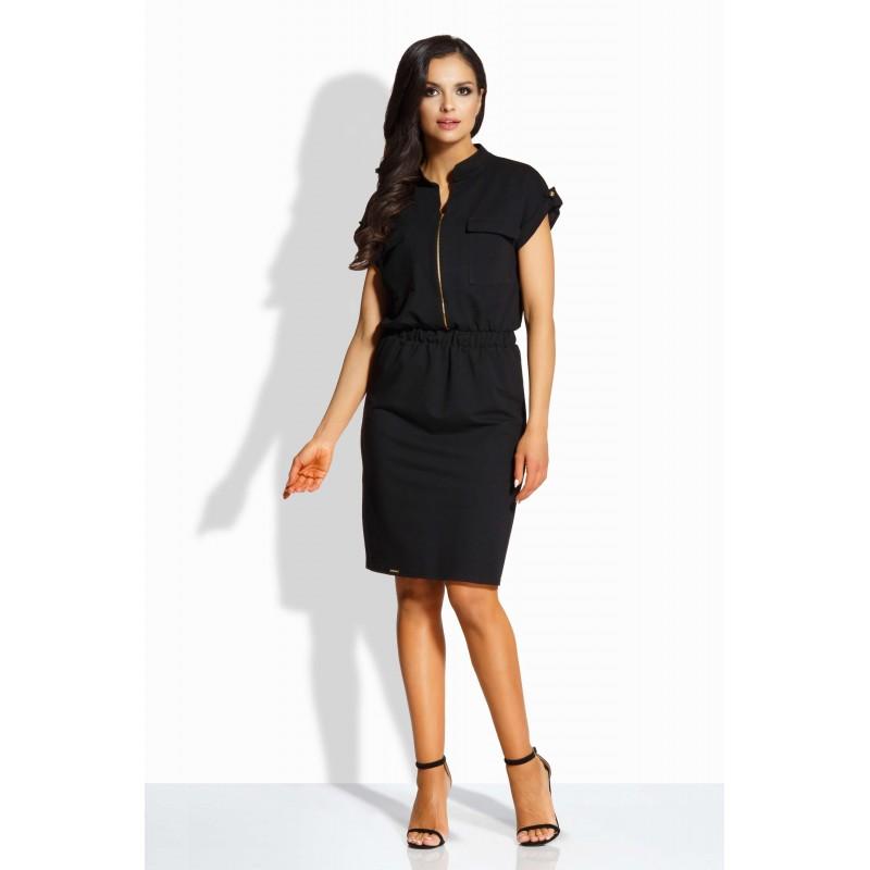 Rochie eleganta cu fermoar decorativ si buzunare frontale neagra