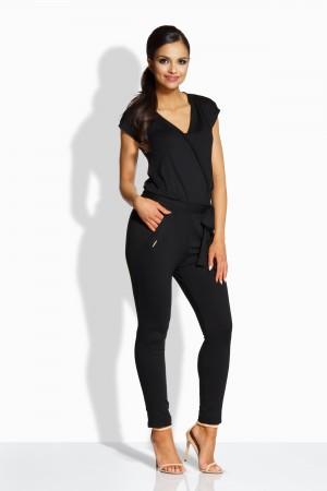 Salopeta dama cu aspect petrecut si pantaloni trei sferturi neagra